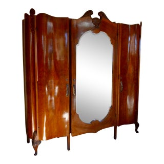 1920s Burled Walnut and Mirror Art Deco Armoire For Sale