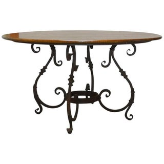 Italian Oak & Scrolled Iron Round Dining Table