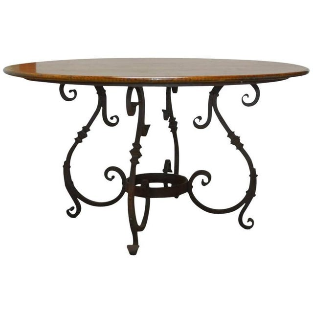 Italian Oak & Scrolled Iron Round Dining Table For Sale