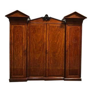 1940s Victorian Mahogany Wardrobe For Sale