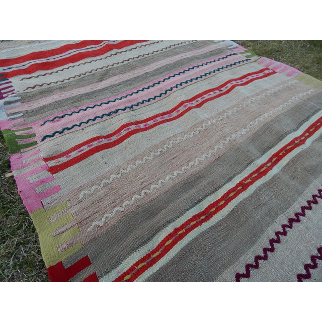 Vintage Wide and Long Turkish Kilim Rug 3'11'' X 8'3'' For Sale In Dallas - Image 6 of 13