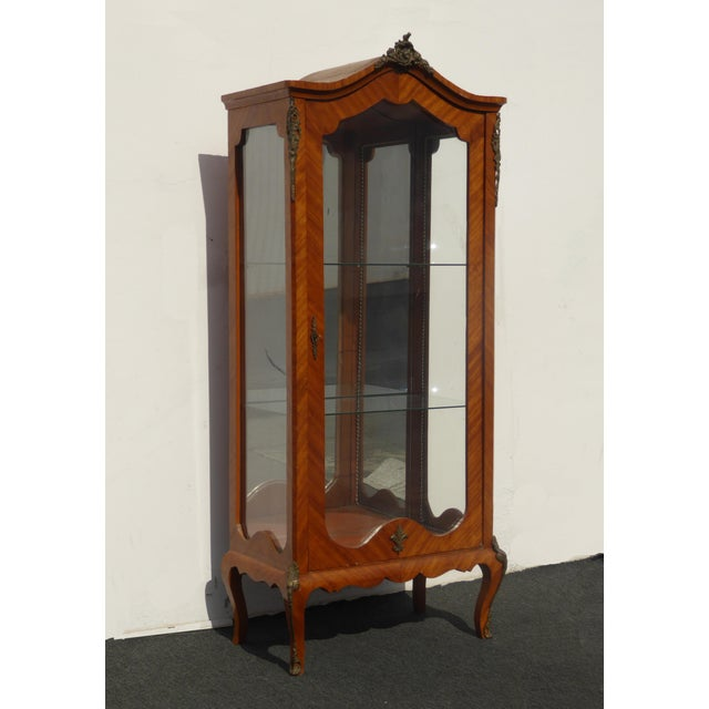 Vintage French Provincial Curio Cabinet Display Case Vitrine w Burlwood n Ormalu Gorgeous Cabinet in Good Vintage...