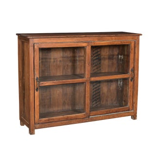 Antique Colonial Glass Door Cabinet For Sale