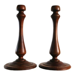 1960s Large Turned Wood Candlesticks - a Pair For Sale