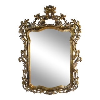 Roberto Giannini for Chelini Hand Carved Italian Giltwood Baroque Mirror For Sale