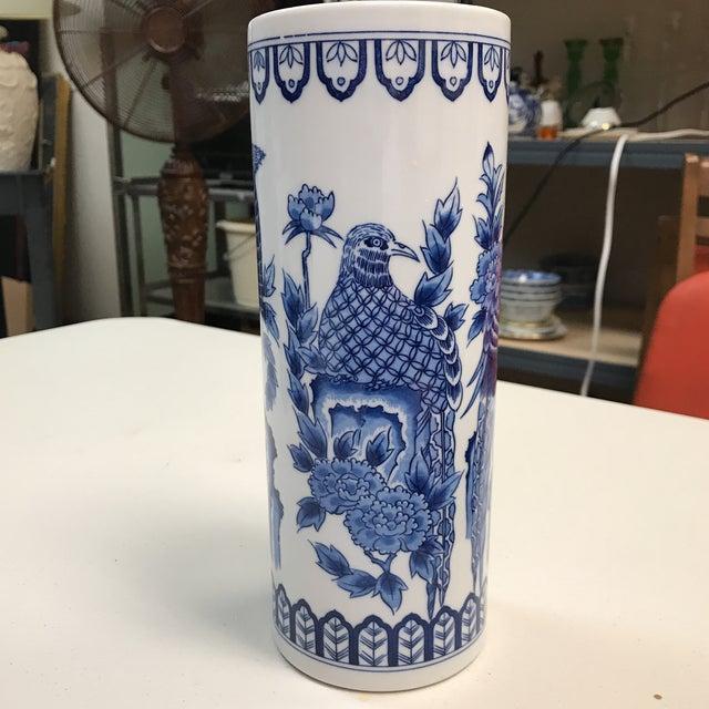 Asian Signed Blue & White Phoenix Vase For Sale - Image 3 of 7