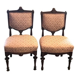 Late 19th Century Antique Renaissance Revival Carved Parlor Chairs - A Pair For Sale
