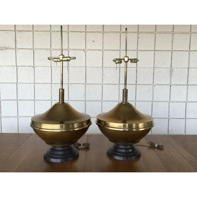 Vintage Brass Oversized Lamps - Pair - Image 2 of 6