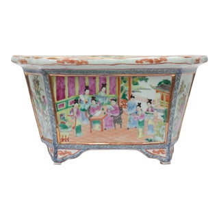 Rose Medallion Rectangular Ceramic Cache Pot/Jardiniere For Sale