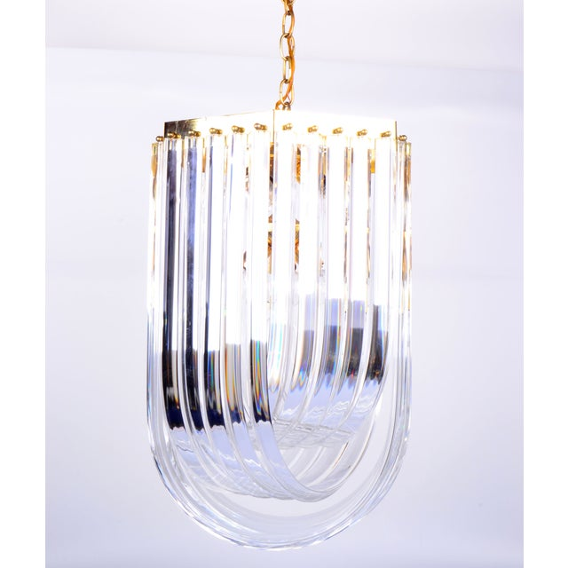 Gold Lucite Ribbon Chandelier With Canopy For Sale - Image 8 of 11