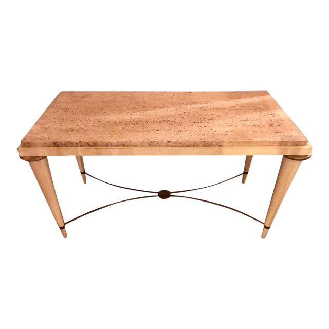 Mid-Century Modern Coffee Table Inset Travertine Marble-Top and Brass Stretcher For Sale - Image 11 of 11