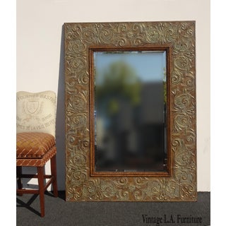 "74""h Vintage Hollywood Regency Copper Embossed Wall Mantle Mirror Preview"