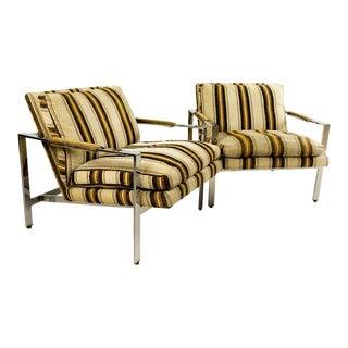 Milo Baughman for Thayer Coggin Chrome Flatbar Lounge Chairs - A Pair