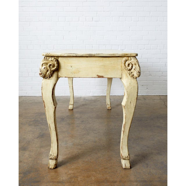 Late 19th Century Rustic Italian Lacquered Ram's Head Motif Writing Table For Sale - Image 5 of 13