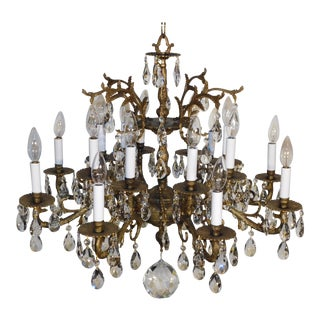 Antique 1940s French Bronze 8 Arm 16 Light Cut Lead Crystal Chandelier For Sale