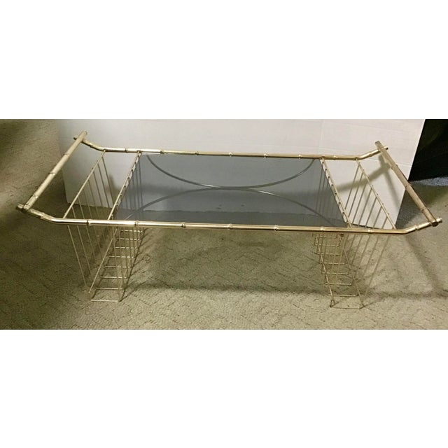 Mid-Century Modern Mid-Century Faux Bamboo Brass Bed Tray Magazine Rack For Sale - Image 3 of 9