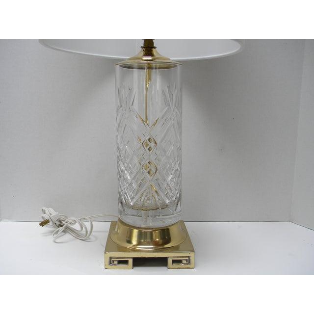 Traditional Vintage Brass Greek Key Base & Crystal Lamp For Sale - Image 3 of 7
