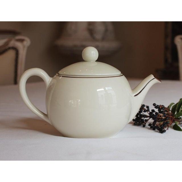 "Vintage French ""Le Manoir"" Porcelain Teapot For Sale - Image 4 of 5"