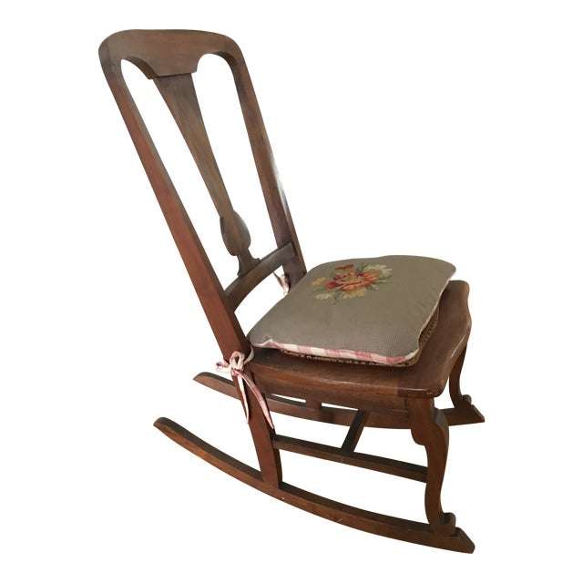 Early 20th Century Antique Cane Seat Rocking Chair and Needlepoint Pillow  Seat- 2 Pieces - Early 20th Century Antique Cane Seat Rocking Chair And Needlepoint