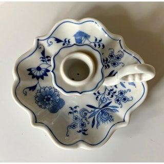 Vintage Blue & White China Candlestick, Retro Home Decor Preview