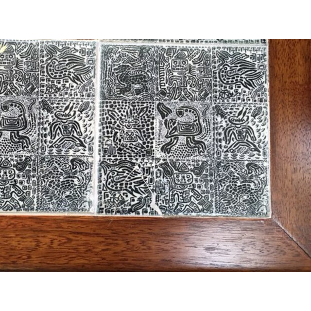Mid-Century Coffee Table with Aztec Pattern Tiles - Image 6 of 6