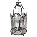 Image of Louis XVI Style Wrought Iron and Glass Large Hanging Hall Lantern For Sale