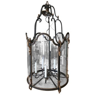 Louis XVI Style Wrought Iron and Glass Large Hanging Hall Lantern For Sale