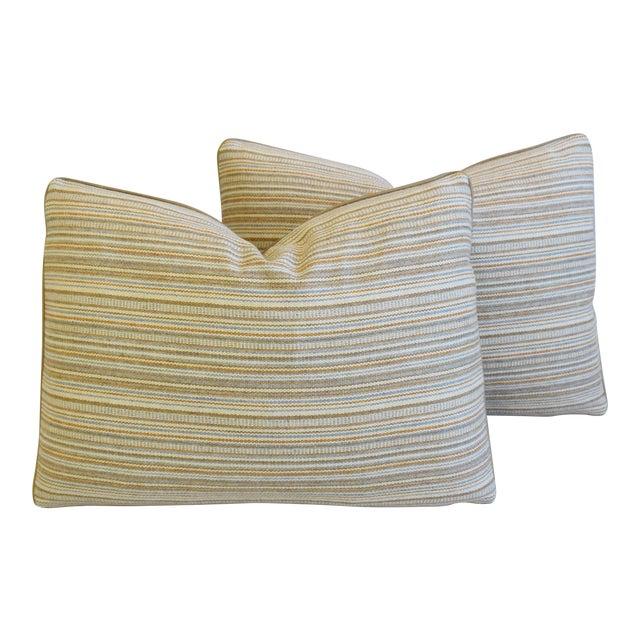 "Scottish Hodsoll McKenzie Wool Stripe & Scalamandre Velvet Feather/Down Pillows 22"" X 16"" - Pair For Sale"