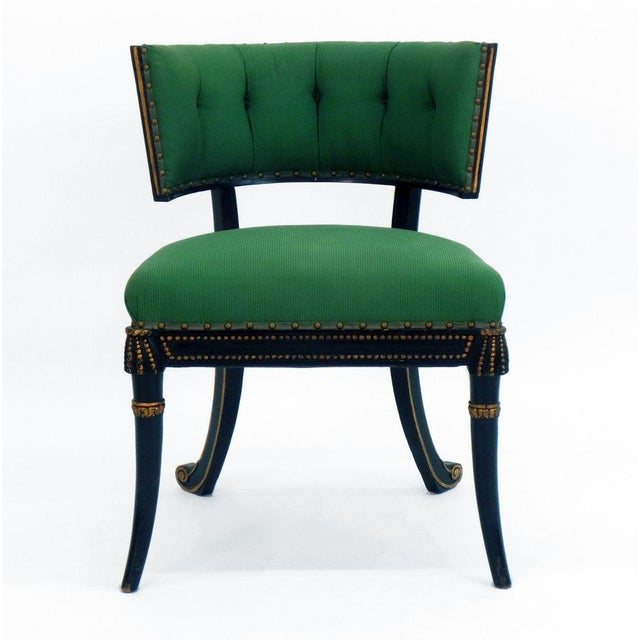 The Klismos inspired Windsor model Regency style tufted cove back game chair, originally made for the Duchess of Windsor....