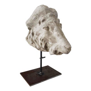 Late 20th Century Vintage Poured Stone Sculpture of a Rams's Head on Iron Stand For Sale