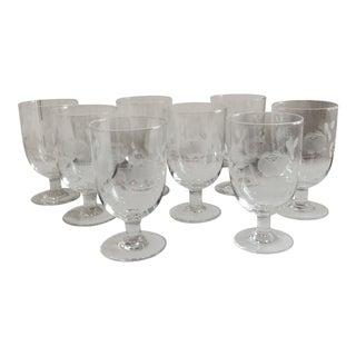 1960s Vintage Crystal Rose Etched Glasses - Set of 8 For Sale