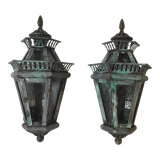 Hollywood Regency Solid Brass Wall Lanterns - a Pair For Sale