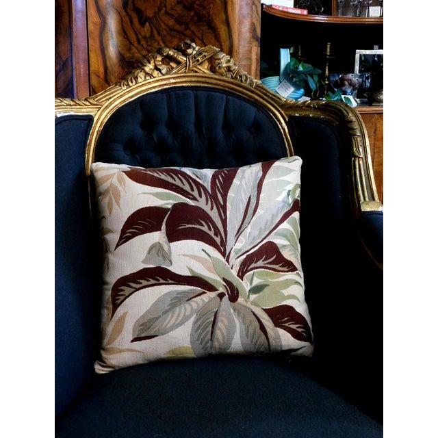 2020s Camel Color Velvet Back Botanical Pillow For Sale - Image 5 of 6