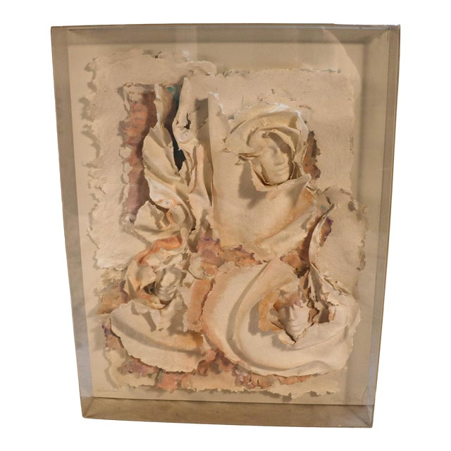 Versace Inspired Marcia Mazur-Gold and Ross Mazur Mid Century Handmade Paper Sculpture Painting For Sale
