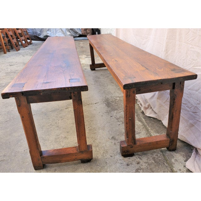 Wood Antique Plank Solid Oak Refectory Dining Table With a Pair of Monastery Benches - 3 Pieces For Sale - Image 7 of 13