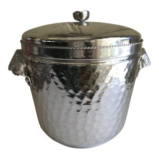Vintage Hammered Metal Ice Bucket For Sale