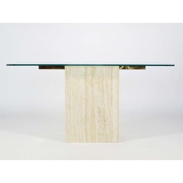 Italian Travertine and Glass Console Table by Ello For Sale In Chicago - Image 6 of 11