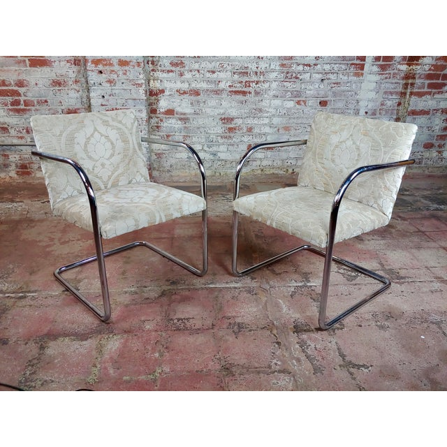 Mies Van Der Rohe Vintage Chrome Arm Chairs - Set of 4 For Sale - Image 4 of 9