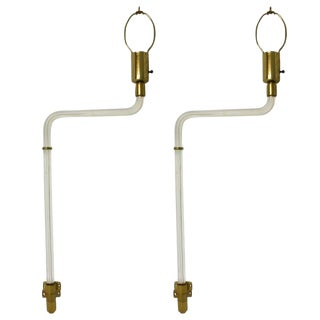 Pair of 1970s Peter Hamburger Lucite and Brass Wall-Mounted Lamps For Sale