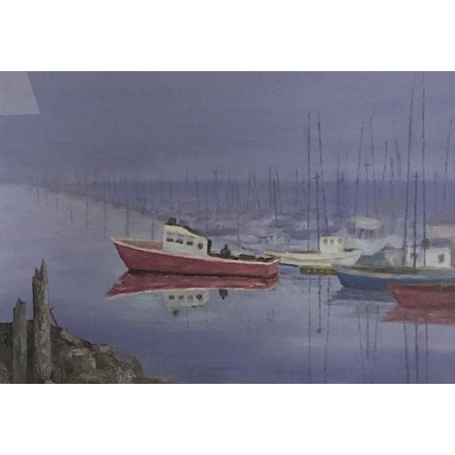 """This vintage oil painting of boats in a harbor is signed J.C .Label on back says Joan Crouch, Fisherman's Terminal"""",..."""