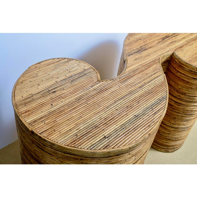 "Wood Italian Gabriella Crespi Style, Pencil Bamboo ""S"" Shape Console Table,, C.1970 For Sale - Image 7 of 13"