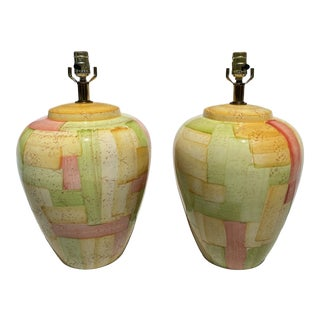 Hand Painting Multicolored Ceramic Table Lamps From 1980's For Sale