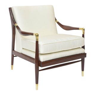 Italian Modern Mahogany and Brass Arm/Lounge Chair, Style of Ponti
