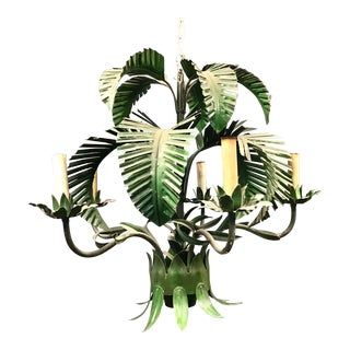 Mid Century Painted Tole Palm Frond Chandelier For Sale