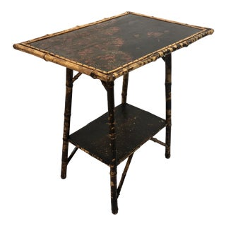 19th Century English Scorched Bamboo Chinoiserie Side Table For Sale