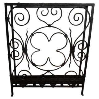 1930s Vintage French Art Deco Wrought Iron Umbrella Stand For Sale