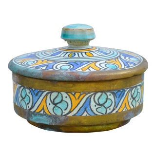 Antique Moroccan Ceramic Box For Sale
