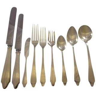 Clinton by Tiffany & Co. Sterling Silver Flatware Set 8 Service 74 Pieces Dinner For Sale