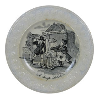 Staffordshire Transferware Cockle Plate, 'A Cheap Lobster' circa early 1800s