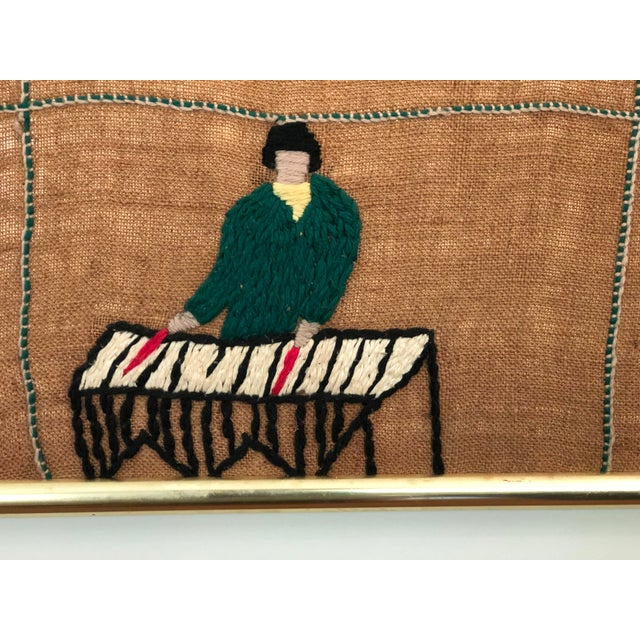Mid 20th Century Mid-Century Embroidered Tapestry of Musicians For Sale - Image 5 of 13
